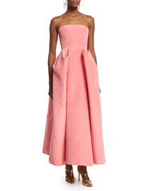 Strapless Pleated-Skirt Midi Gown, Sorbet