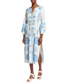 Long-Sleeve Tile-Print Silk Dress, Blue/White