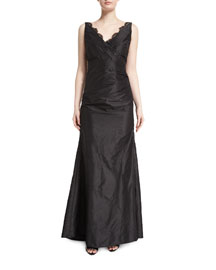 Sleeveless Taffeta Gown w/Scalloped Lace Trim, Black