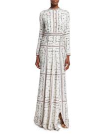 Long-Sleeve Floral-Vine Printed Silk Dress