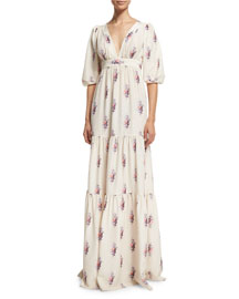 Half-Sleeve Floating Rose-Print Silk Gown, Multi
