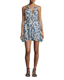 Plunging Floral-Print Silk Halter Dress, Blue