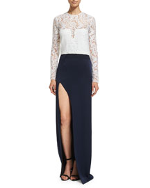 Long-Sleeve Lace Combo Gown, White/Midnight