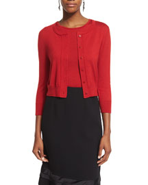 Cropped Cashmere-Blend Cardigan, Ruby