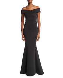 Off-the-Shoulder Knit Mermaid Gown, Black