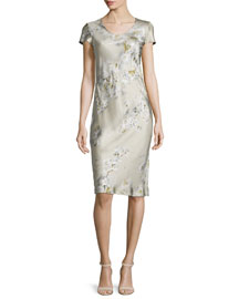 Short-Sleeve Floral-Print Satin Dress, Beige