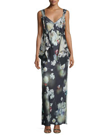 Sleeveless Paneled Floral-Print Gown, Black
