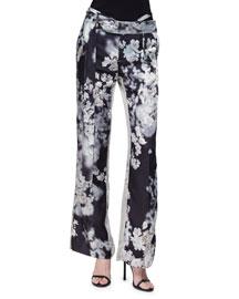 Floral-Print Two-Tone Wide-Leg Pants, Black