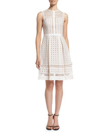 Sleeveless Ladder-Stitch Organza Dress, Oyster/Almond