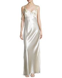 Sleeveless Satin V-Neck Gown, Eggshell