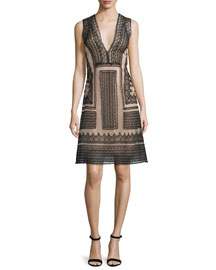 Sleeveless V-Neck Lace Cocktail Dress, Black/Nude