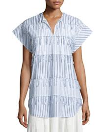Short-Sleeve Tassel-Tier Blouse, White/Blue