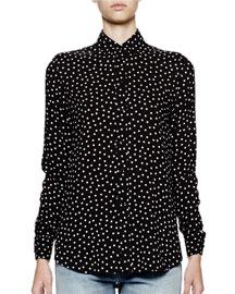 Long-Sleeve Polka-Dot Blouse, Black/White