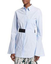 Bell-Sleeve Belted Cotton Top, Light Blue