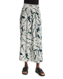 Cropped Wide-Leg Printed Pants, White/Green