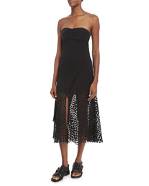 Strapless Devore Overlay Dress, Black