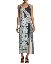 Sleeveless Patchwork Maxi Dress, Back/White/Multi