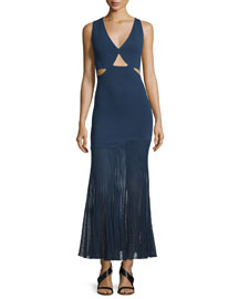 Sleeveless Cutout Knit Dress w/Accordion-Pleated Skirt, Navy
