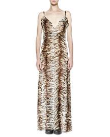Sleeveless Animal-Print Silk Ruffle Gown
