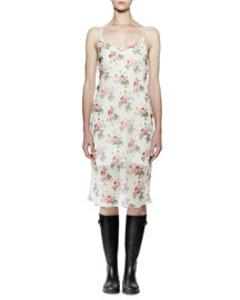 Sleeveless Floral-Print Midi Slip Dress, White Floral