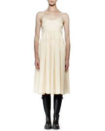 Rose-Embroidered Silk Cami Dress, Ivory