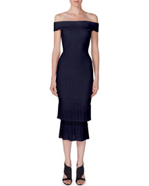 Amery Off-the-Shoulder Tiered Midi Dress, Navy