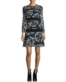 Macrame-Stripe Tie-Dye Shift Dress