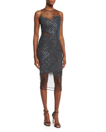 Sleeveless Sequined Grid Cocktail Dress, Gunmetal