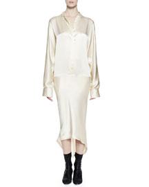 Long-Sleeve Silk Shirtdress, Cream
