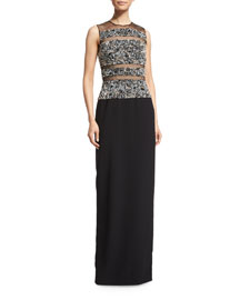 Sleeveless Illusion Cady Gown, Midnight