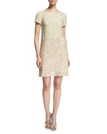 Short-Sleeve Sequined Cowl-Back Cocktail Dress, Bone