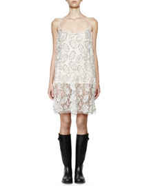 Sequined Floral-Lace Cami Dress, Silver