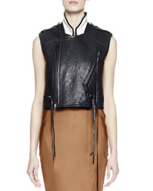 Sleeveless Leather Tassel Paint-Back Vest, Black