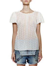 Flutter-Sleeve Floral-Embroidered Silk Top, White