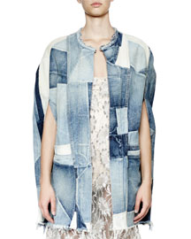 Patchwork Denim Cape Jacket