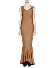 Sleeveless Silk Gown w/Contrast Lining, Brown