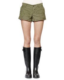 Patchwork Cargo Shorts, Green