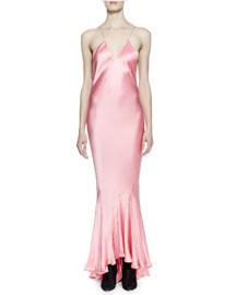 Spaghetti-Strap Silk Cami Gown, Pink