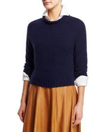 Rolled-Neck Cashmere Sweater, Dark Navy