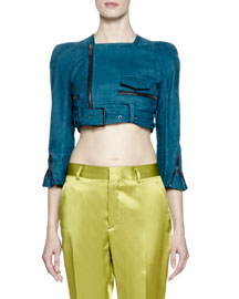 3/4-Sleeve Cropped Leather Jacket, Teal