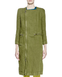 3/4-Sleeve Canvas Side-Zip Coat, Olive