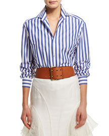 Wide-Striped Long-Sleeve Blouse, Blue/White