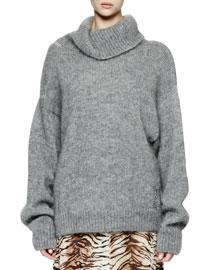 Oversized Knit Turtleneck Sweater, Gray