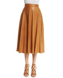 Pleated Leather Midi Skirt, Saddle