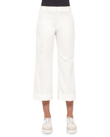 Cropped Cotton Pants, Anemone