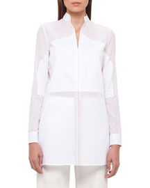 Long-Sleeve Voile Tunic, Pure White
