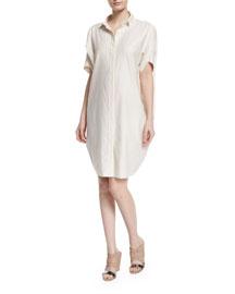 Short-Sleeve Mixed-Stripe Shirtdress, Silver