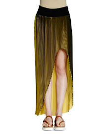 Jeanne High-Low Plisse Maxi Skirt, Black/Lemon