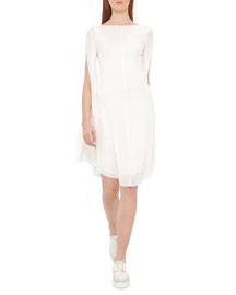 Split-Sleeve Crepe Sheath Dress, Pure White