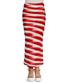 Semisheer Checked Maxi Skirt, Red/White